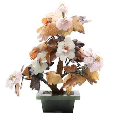 Chinese Serpentine, Rose Quartz and Agate Bonsai Tree