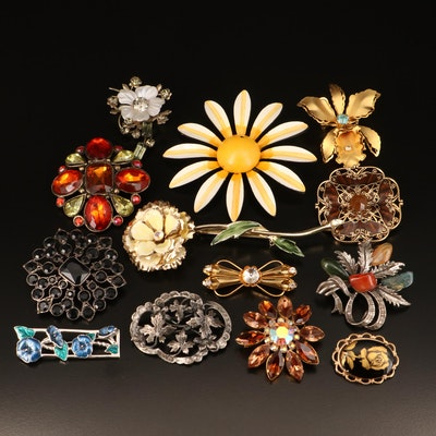 Vintage Floral Brooches Including Coro, Austrian Rhinestone, Nephrite and Agate
