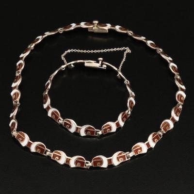 Margot de Taxco Vintage Sterling Enamel Necklace and Bracelet Set