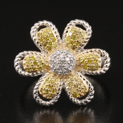 Sterling Silver Yellow Diamond Flower Ring