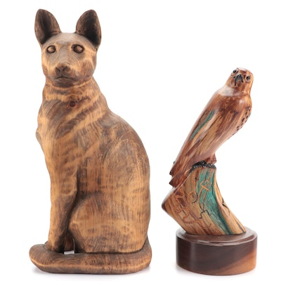 William L. Janelle Wood Carving and Earl Eder Wood Carving of Bird