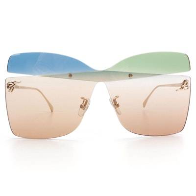 Fendi FF 0399/S Karligraphy Rimless Butterfly Sunglasses with Case