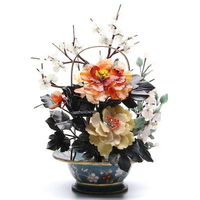 Chinese Gemstone Bonsai Tree in Cloisonné Bowl