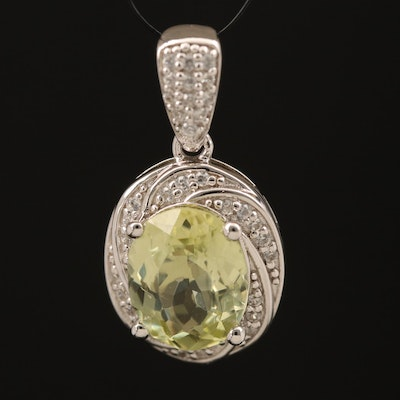 Sterling Sillimanite and Zircon Pendant