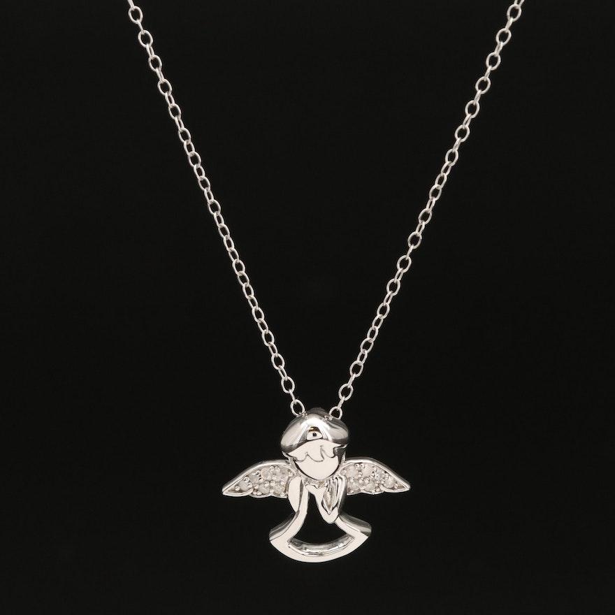 Sterling Silver Diamond Angel Pendant Necklace