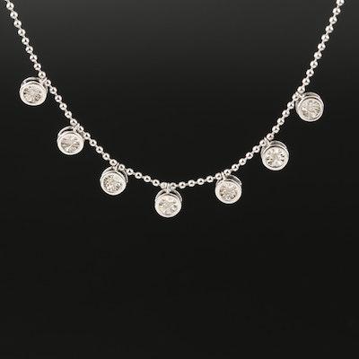 Sterling Diamond Set Illusion Set Necklace