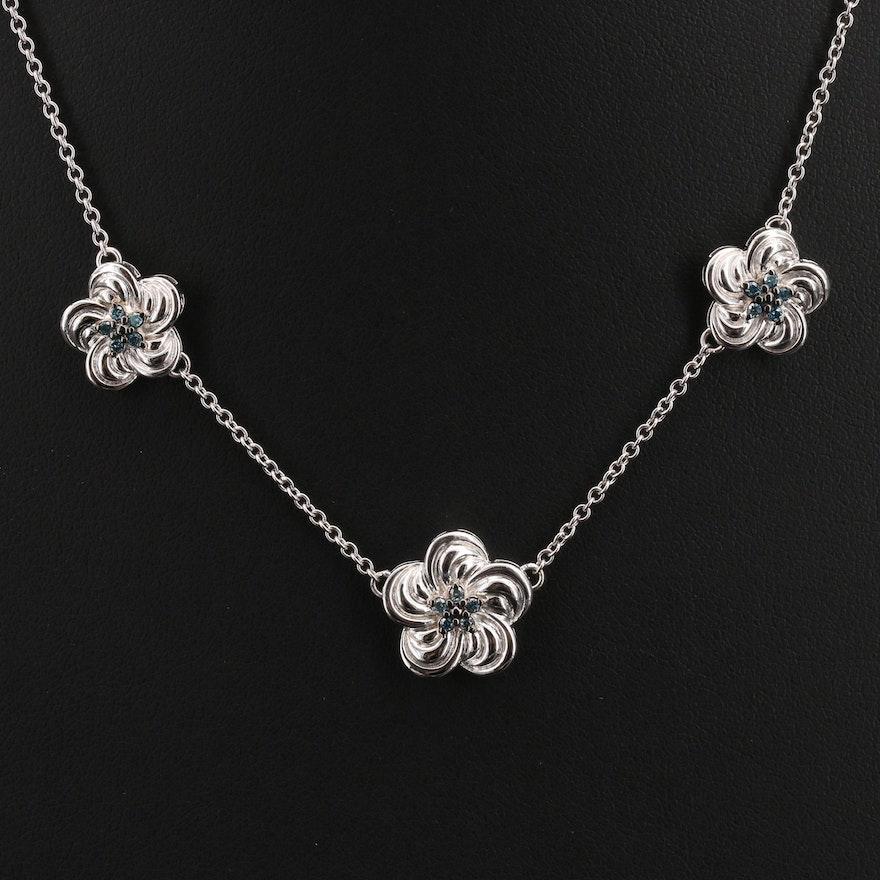 Sterling Diamond Flower Station Necklace