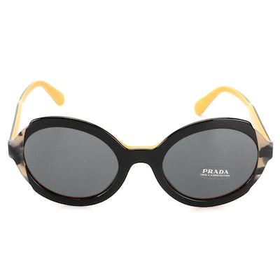 Prada SPR 17U Circular Sunglasses with Case and Box