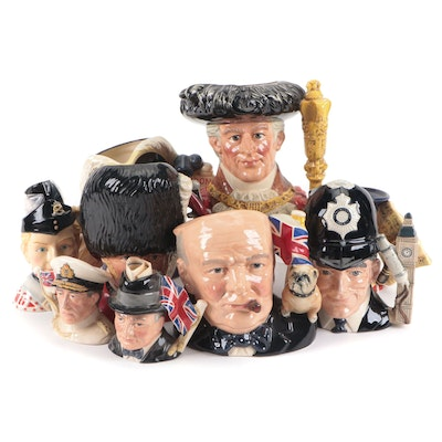 """Royal Doulton """"Winston Churchill"""" and Other Ceramic Character Mugs"""