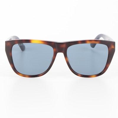 Gucci GG0926S Blue Web Stripe Havana Square Sunglasses with Case