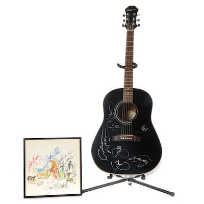 Joni Mitchell, Crosby, Stills, Nash, Young Signed Album, COA, and Signed Guitar