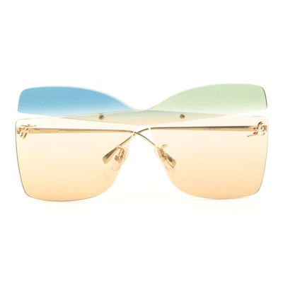 Fendi Gradient Butterfly Rimless Sunglasses with Case
