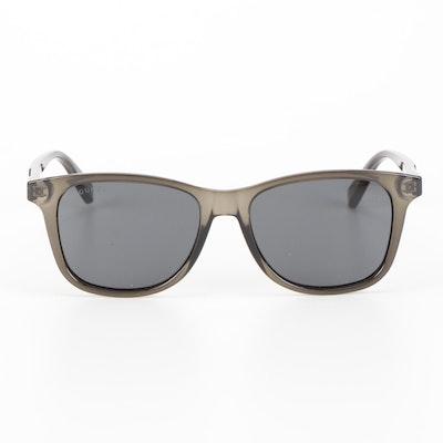 Gucci GG0936S Gray Translucent Square Sunglasses with Chartreuse Velvet Case