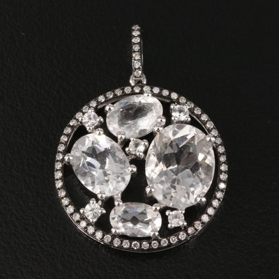 14K Rock Crystal Quartz, White Sapphire and Diamond Cluster Circle Pendant