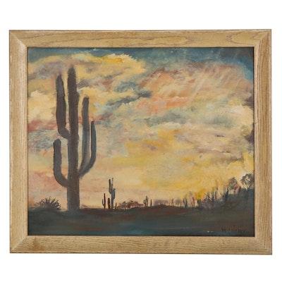 Desert Landscape Oil Painting, Mid-Late 20th Century