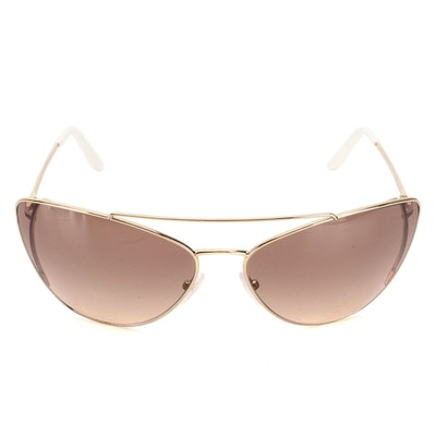 Prada SPR 65V Gold Tone Metal Modified Cat Eye Sunglasses with Case