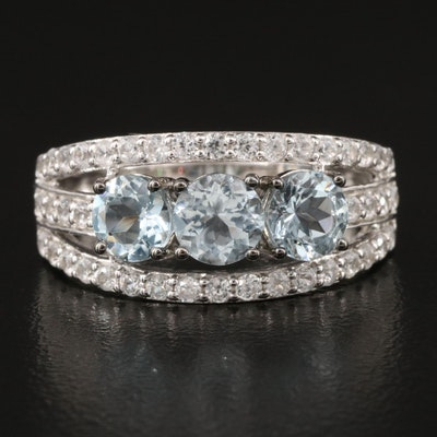 Sterling Silver Aquamarine and White Zircon Tapered Band