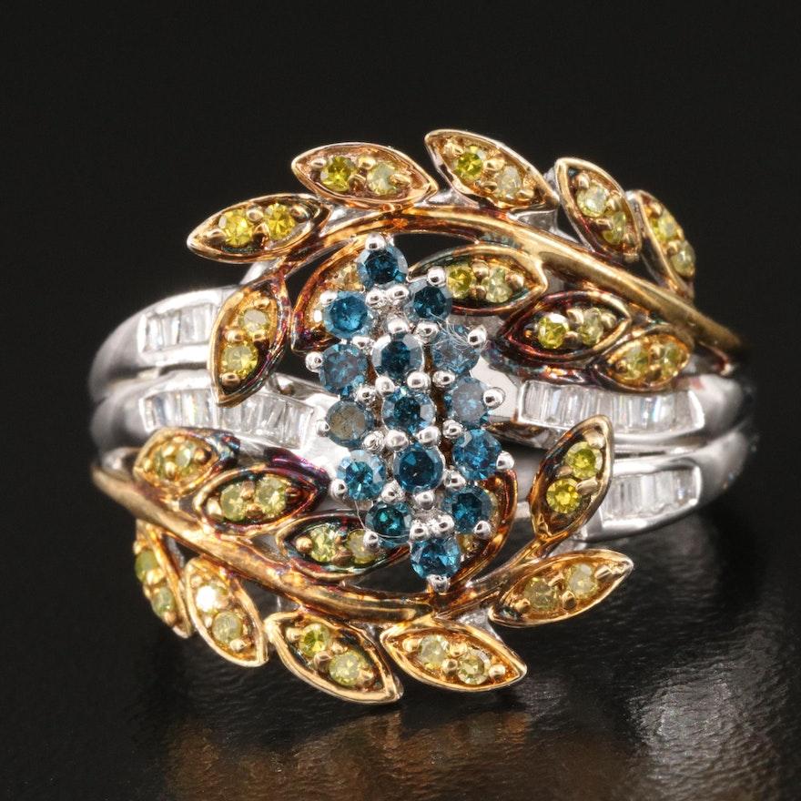 Sterling Silver Diamond Foliate Ring