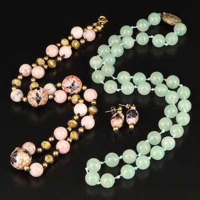 Cloisonné Necklace and Earrings with Aventurine Bead Necklace