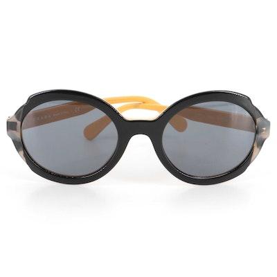 Prada SPR 17U Round Sunglasses in Black, Yellow and Gray Tortoise Acetate