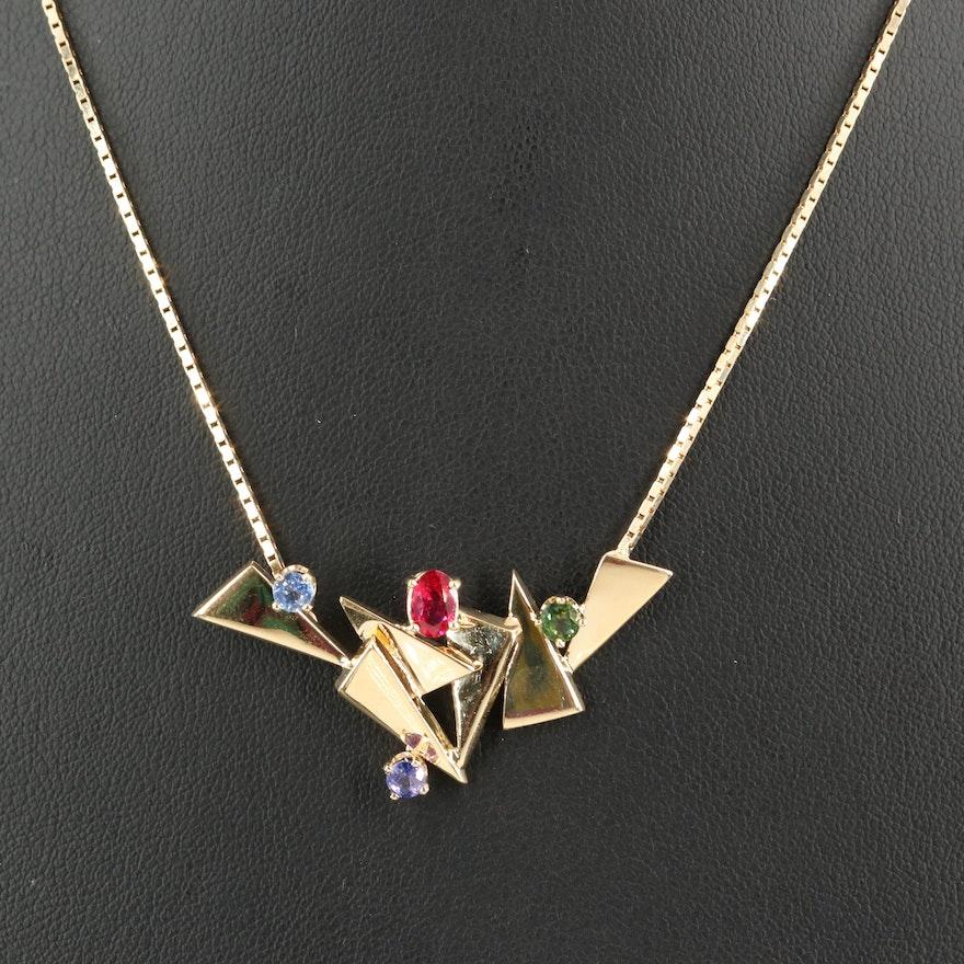 Joan Michelin 14K Fancy Color Sapphire Necklace