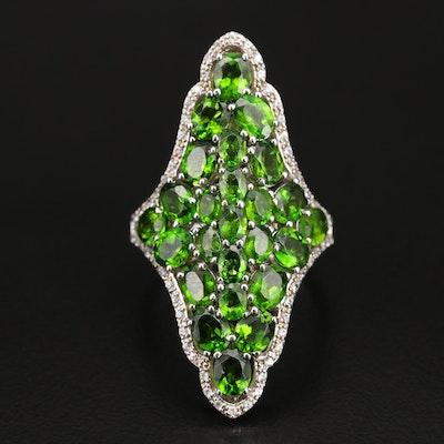Sterling Diopside Cluster Ring