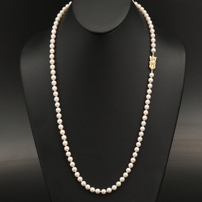Mikimoto Single Strand Pearl Necklace with 18K Clasp
