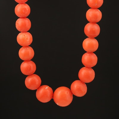 14K Graduated Coral Bead Necklace with 14K Clasp