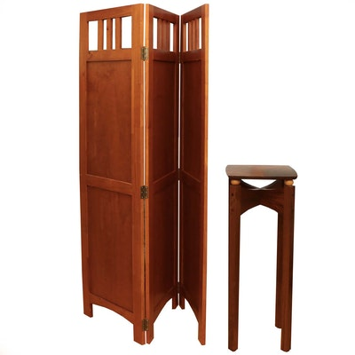 Post Modernist Walnut Plant Stand and Arts & Crafts Style Folding Screen