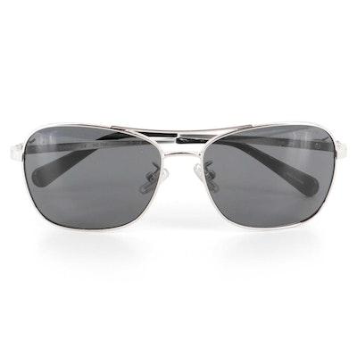Coach L1014 Aviator Sunglasses in Silver with Case