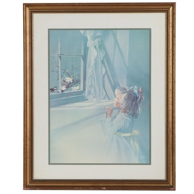 Offset Lithograph After Carolyn Bullis Blish of Little Girl, Late 20th Century