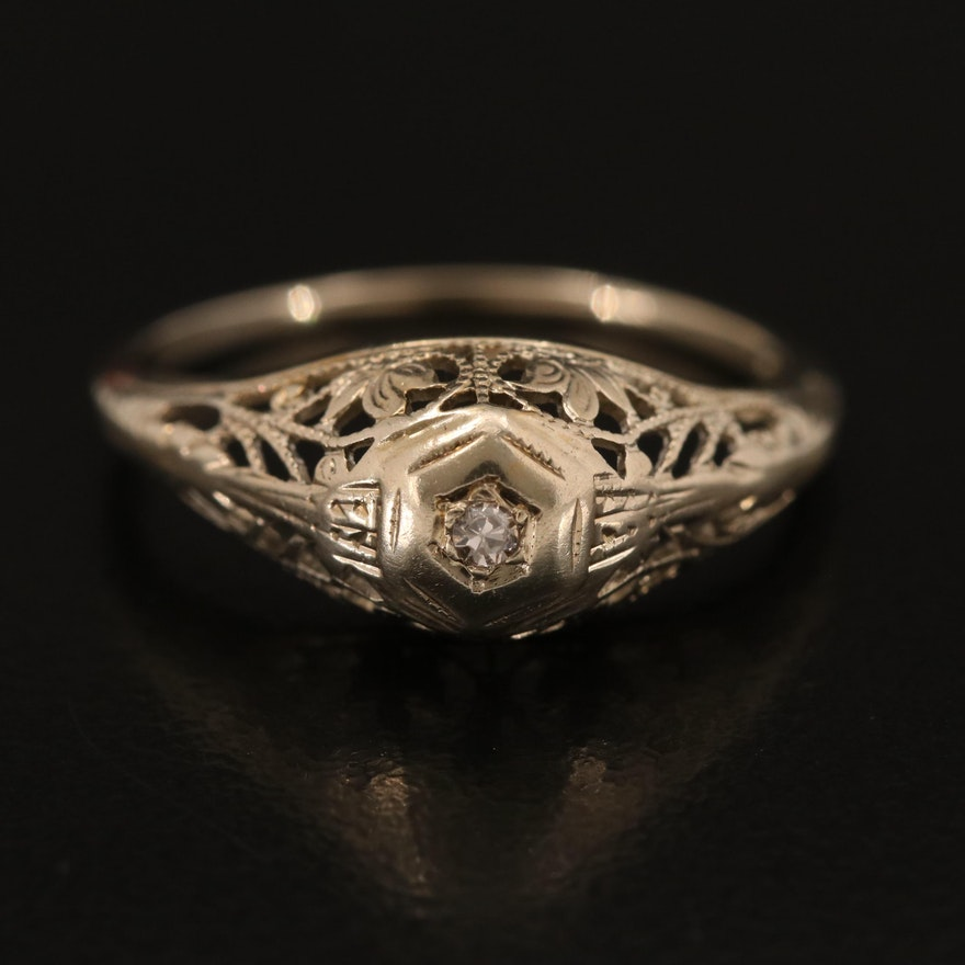 Vintage 18K Diamond Solitaire Ring