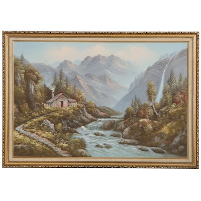 Mountainside Oil Painting With River, Late 20th Century