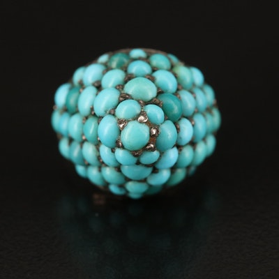 Antique 14K and 900 Silver Turquoise Ring