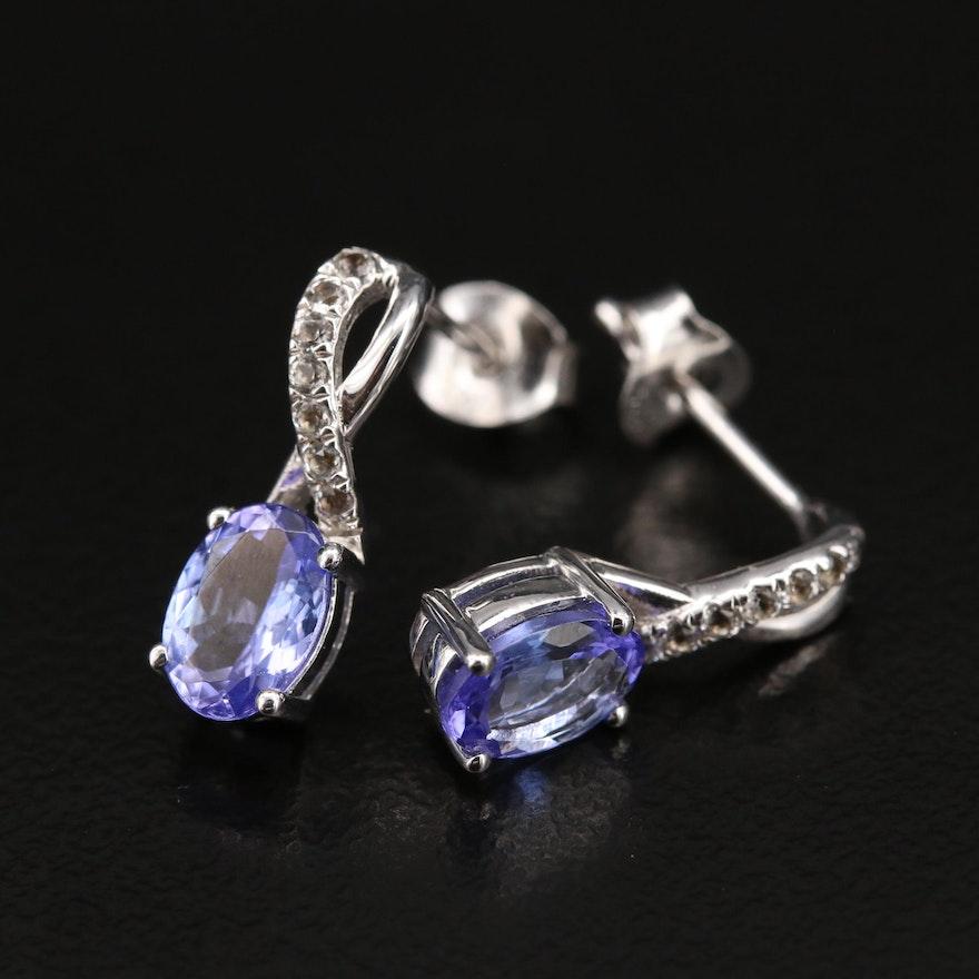 Sterling Tanzanite and Topaz Drop Earrings