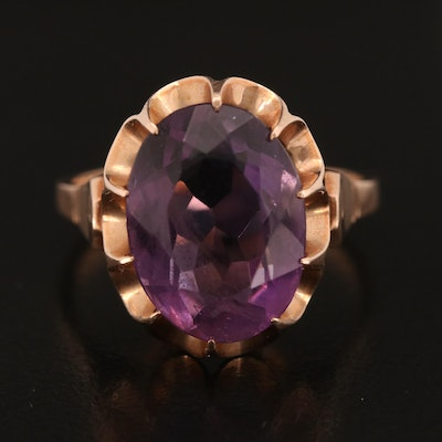 14K Rose Gold Oval Faceted Amethyst Solitaire Ring