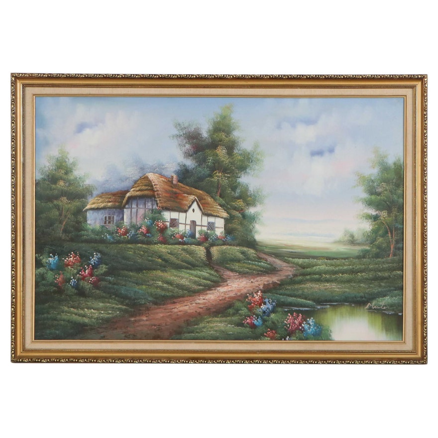 Oil Painting of Cottage Scene, Late 20th Century
