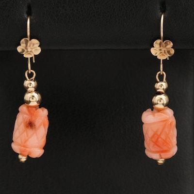 14K Carved Coral Bead Earrings