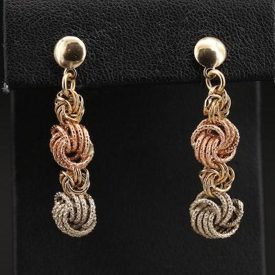 Italian Tri-Color 14K Knot Earrings