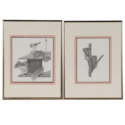 Randall Slamowitz Lithographs of Squirrel and Raccoons, Late 20th Century