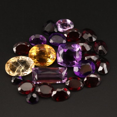 Loose 44.69 CTW Mixed Faceted Amethyst, Citrine and Garnet