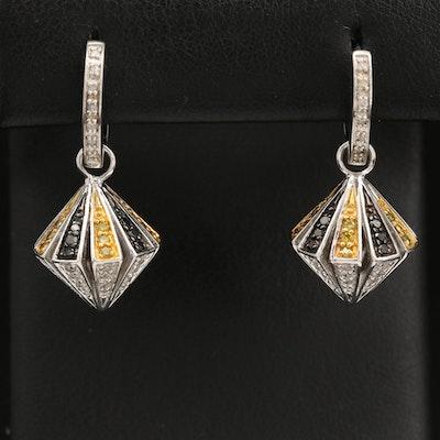 Sterling Silver Diamond Pendulum Charm Huggie Earrings