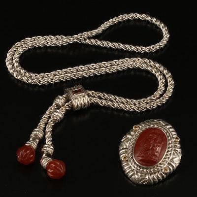 Judith Ripka Sterling Cameo Enhancer Converter Brooch with Slide Necklace