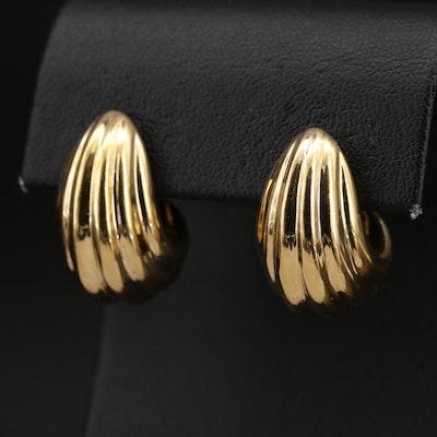 14K Fluted J Hoop Earrings