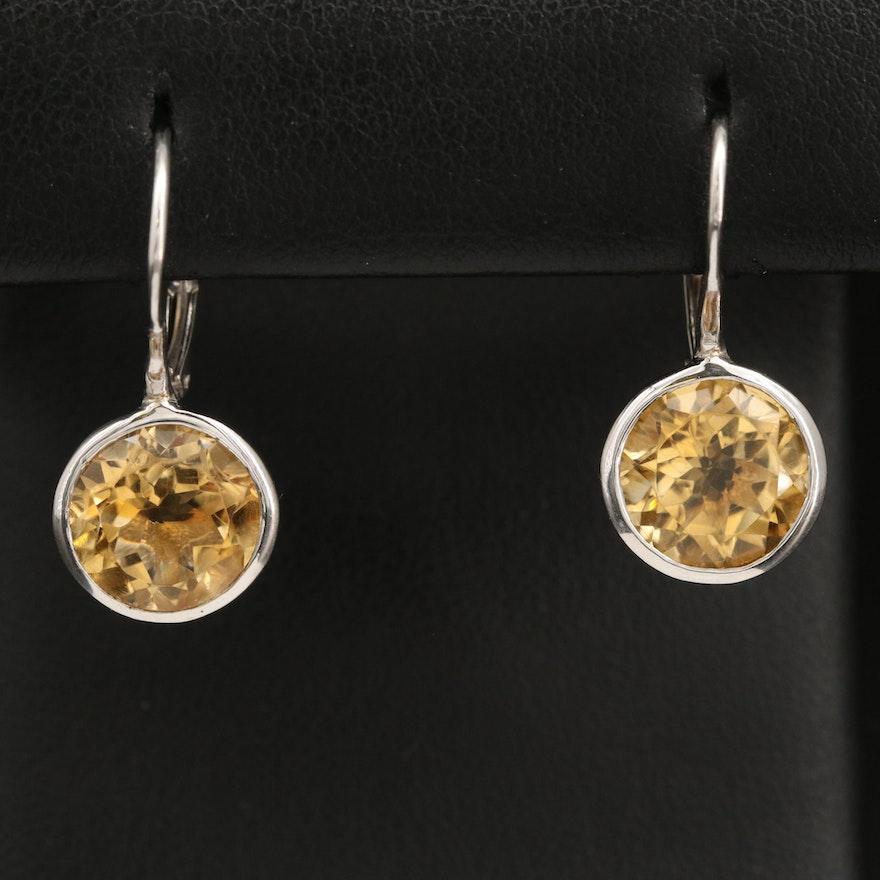 Sterling Silver Citrine Drop Earrings