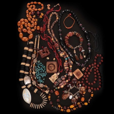 Beaded Bracelets and Necklaces with Agate, Tiger's Eye and Shell