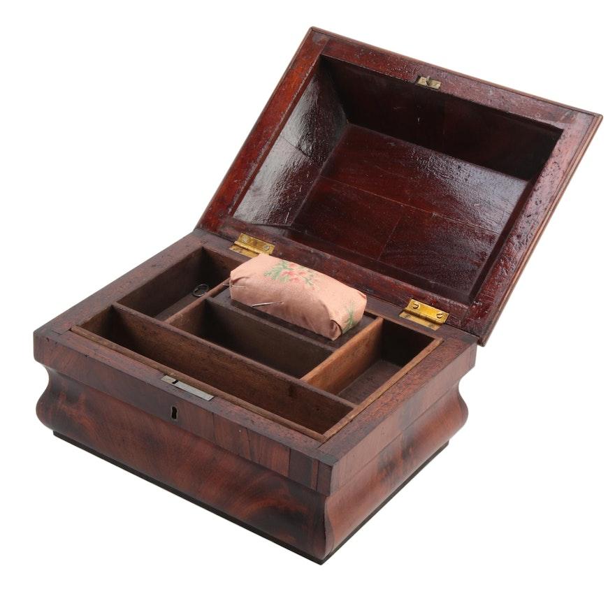 Flame Mahogany Sewing Box with Floral Pin Cushion