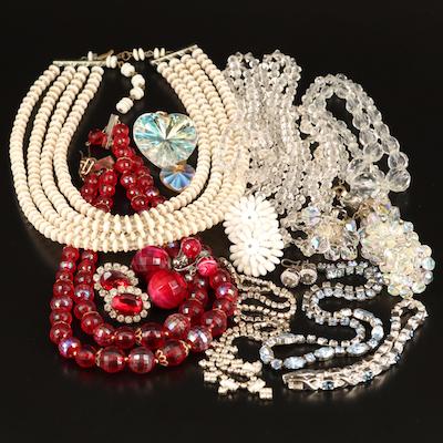 Rhinestone, Aurora Borealis Crystal and Glass Jewelry Grouping Including Laguna