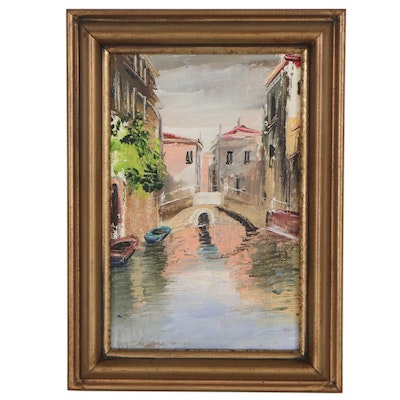 Landscape Oil Painting of European Canal, Late 20th Century