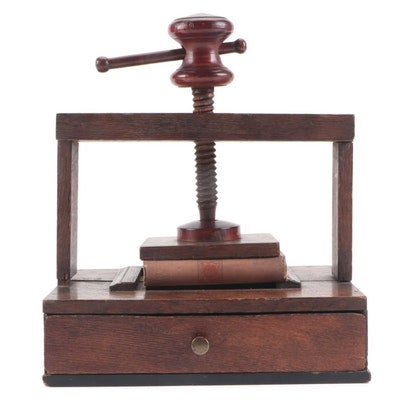 Oak Table Top Book Press, Late 18th to Early 19th Century